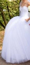 Белоснежное свадебное платье. Низкая цена